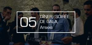 Soirée de gala annuelle dans un château de côte de Rhône avec animation participative autour du vin