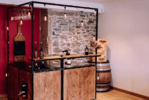bar mobile dans salle de dégustation