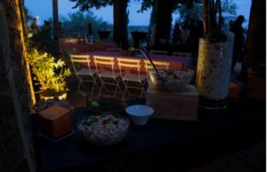 Repas diner entreprise au vert dans la campagne lyonnaise