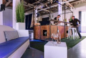 bar à vin mobile en version garden party rosé