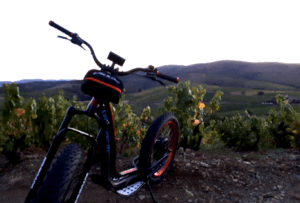 trottinette électrique avec IDEGO dans les vignes du beaujolais