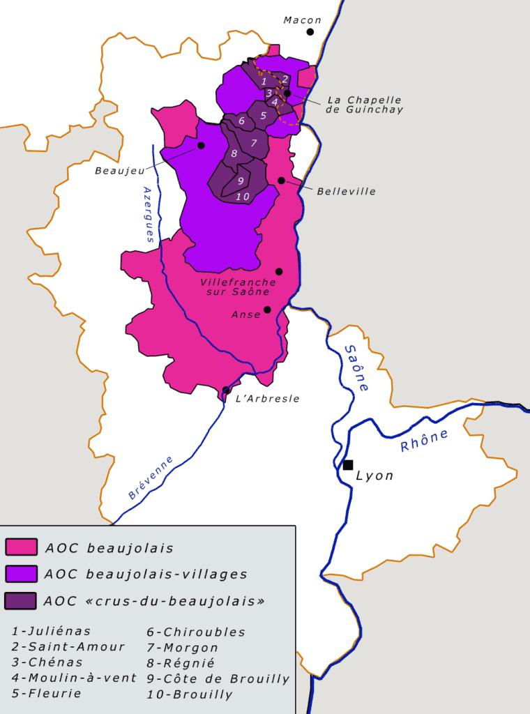 carte des vignobles du beaujolais